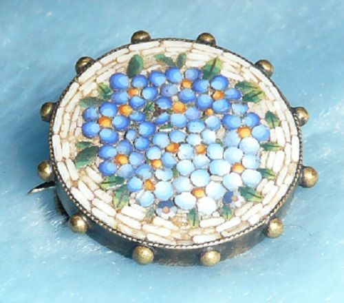 Victorian Micromosaic Forget-Me-Not Pin/Brooch - ca. 1800's