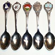 5 Small Silvertone Souvenir Spoons - ca. late 1960's-1992