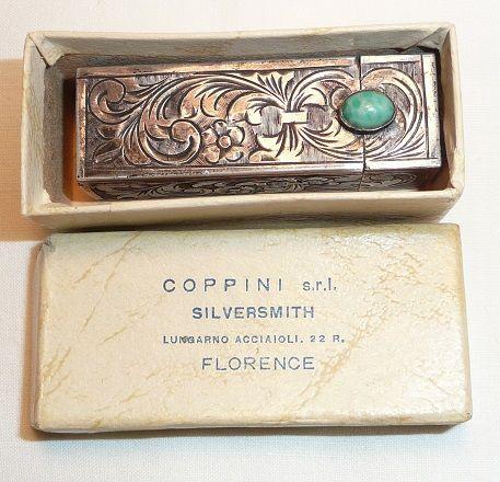 Coppini Sterling Silver Engraved Lipstick Case w/Mirror - ca. 1930-40's