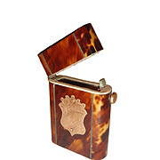 Antique Faux Tortoise Shell Matchbox Box Gold Shield and Silver Inlay.