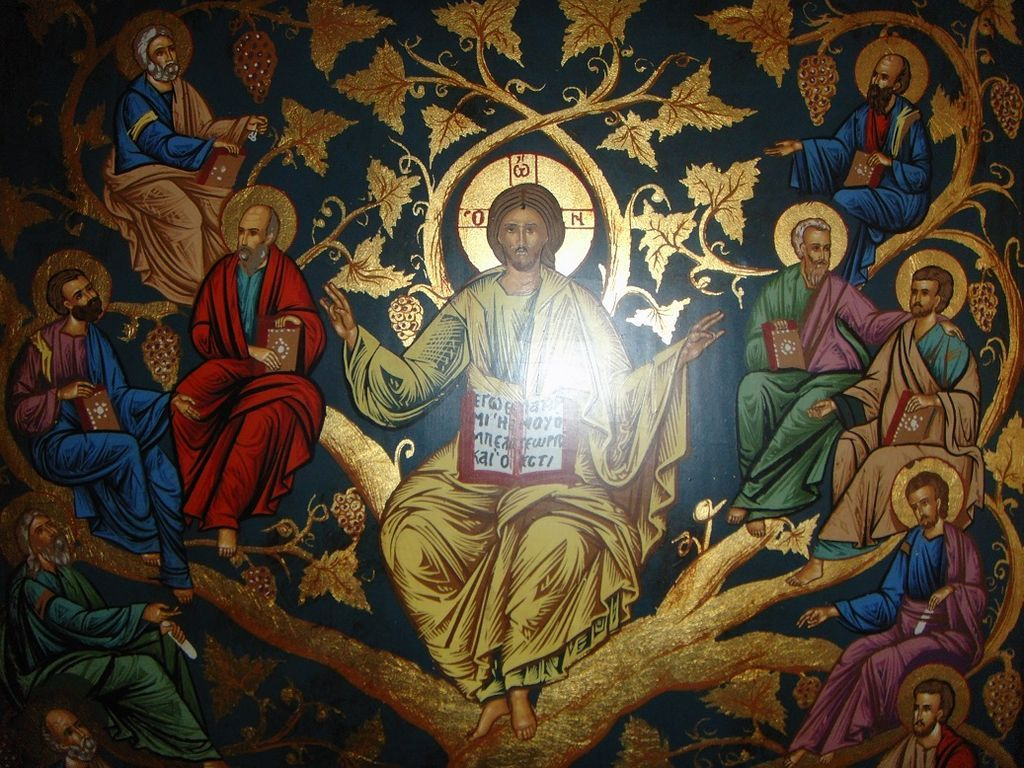 icon of jesus and the true vine tree of life from dutchantiques