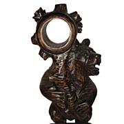 Black Forest Bear Table Clock Stand Figure Sculpture.