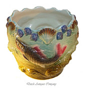 Antique French Majolica Cachepot Jardiniere Planter Fish Ceramic Pottery.