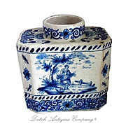 17th Delft Blue White Porcelain Tea Caddy, Delfts Blue AK