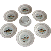 Vintage French Limoges Porcelain Fish Service Set of 10 Plates and saucière.