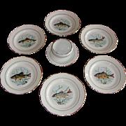 Vintage French Limoges Porcelain Fish Service Set of 10 Plates and saucière.