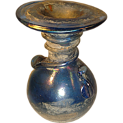 Ancient Roman Deep Blue Glass Vessel Bottle.