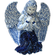 Dutch Delfts Blue Porcelain Angel Figurine and two Candle Stick Holders.
