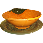 Portuguese Majolica Orange Bowl & Dish Leaf Plate.