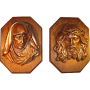 Bronze Bust Plaque Relief Jesus Christ and Maria, Madonna Wall Hanging.