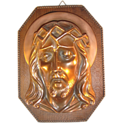 Bronze Bust Plaque Relief Jesus Christ Wall Hanging.
