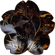 Japanese Vintage Faux Tortoise Shell Lotus Dish.