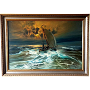 Dutch Maritime Oil painting Fisher Boat Vessel by R.Weezel.