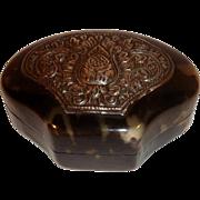 Vintage Faux Tortoise Shell Yogya Silver Soap Box Tortoiseshell Case.