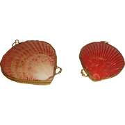 Two Little Victorian Clam Coin Purse, Shell Pouches.