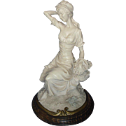 Italian Alabaster Resin Woman Figure Statue Sculpture.