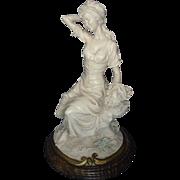 Italian Alabaster Resin Woman Figure Statue Sculpture.
