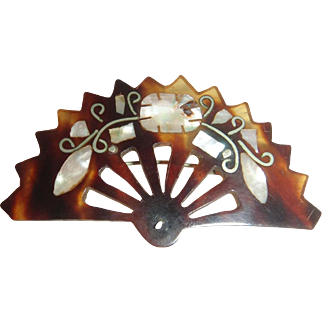 Vintage Faux Tortoise Shell Brooch Fan, Inlaid with Mother of pearl.