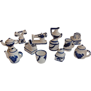 German Miniature Dollhouse Blue and White Porcelain Kitchenware Set.