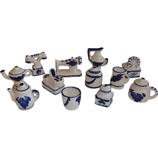 German Miniatur Dollhouse Blue and White Porcelain Kitchenware Set.