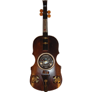 Vintage Wooden Barometer & Thermostat Fiddle our Violin shape.