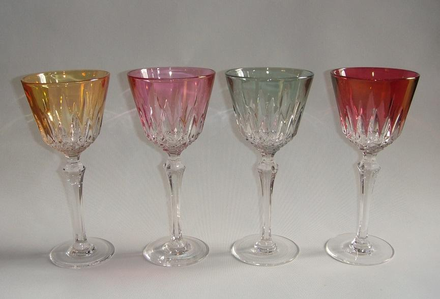 Antique Baccarat Cut and Colored Crystal Wine Glasses ...