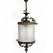 Brass Chandelier with Cylinder Glass Tube. Early 20TH.