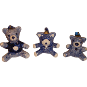 Vintage Delfts Blue Christmas Tree Ornaments Teddy Bear.