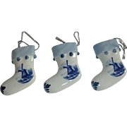Dutch Delfts Blue Porcelain Christmas Socks Tree Decoration.