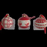 Dutch Vintage Delfts Porcelain Christmas Balls.