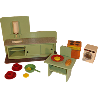 Vintage Dutch Dollhouse Kitchen Countertop, Washing Machine and Stove.