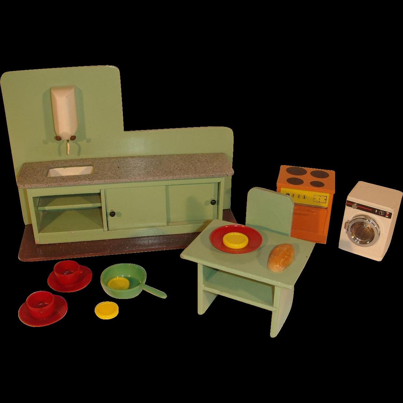 Countertop Washing Machine : Vintage Dutch Dollhouse Kitchen Countertop, Washing Machine and Stove ...