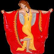 Art Deco Dancing Lady Ceramic Figurine, Flamingo Woman Statue.