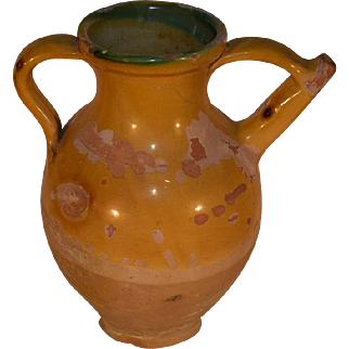 Antique French Yellow Glazed Terracotta Cruche, Terra Cotta Pottery Jug.
