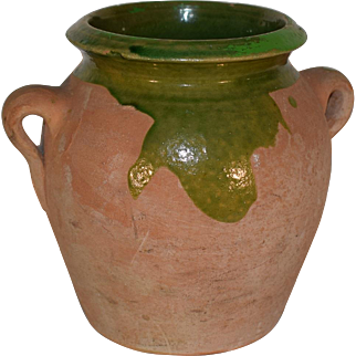 Antique French Green Glazed Terracotta Jug. 19TH Pottery.