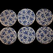 A Set of Six Dutch Delfts Blue Breakfast Plates.