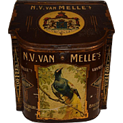 N.V. van Melle`s Toffees Confectionary Store Bin Brown. XL size Tin Can.