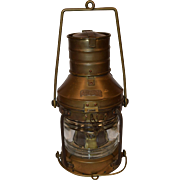 Nautical Copper & Brass Lantern Anchor Light, Maritime Oil Lamp.
