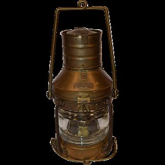Nautical Copper & Brass Lantern Anchor Light, Maritime Oil Lamp.
