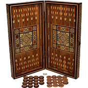 Damascus Backgammon & Chess Inlaid Marquetry Game Box.