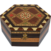 Spanish Marquetry Inlaid Hexagon Box, Granada Taracea Inlay Wood.