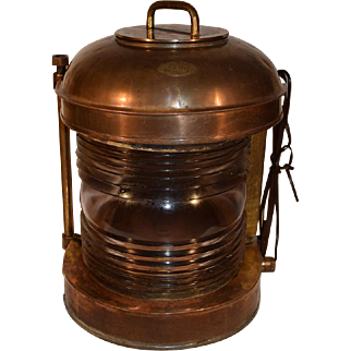 Antique Nautical Copper Ships Lantern Light Lamp by Perkins U.S.A.
