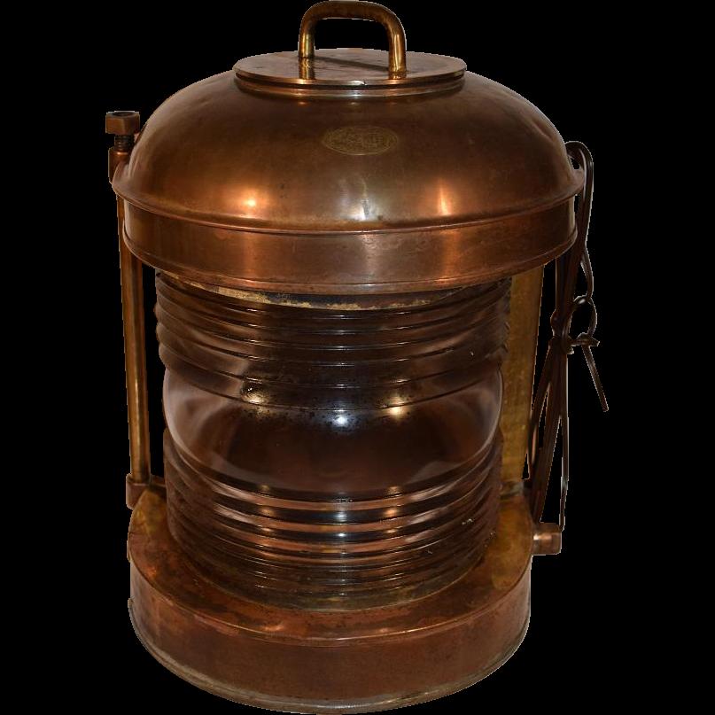 Antique Perko Navigation Lights Vintage Authentic Naval: Antique Nautical Copper And Brass Ships Lantern Light Lamp