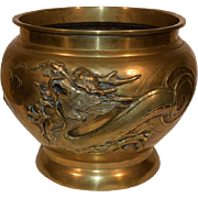 Antique Japanese Bronze Censer our Jardiniere with a Dragon. Large Cache Pot.