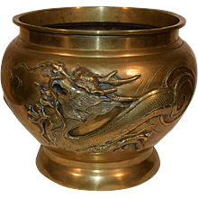 Antique Japanese Bronze Censer our Planter with a Dragon. Large Cache Pot.