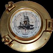 Vintage Brass Nautical Porthole Barometer & Thermometer.