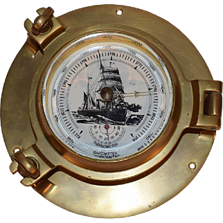 Vintage Brass Nautical Porthole Barometer & Thermometer.