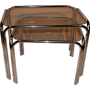 Mid Century Modern Retro `60 Chrome Smoked Glass Side Table Set. Space Age Furniture.