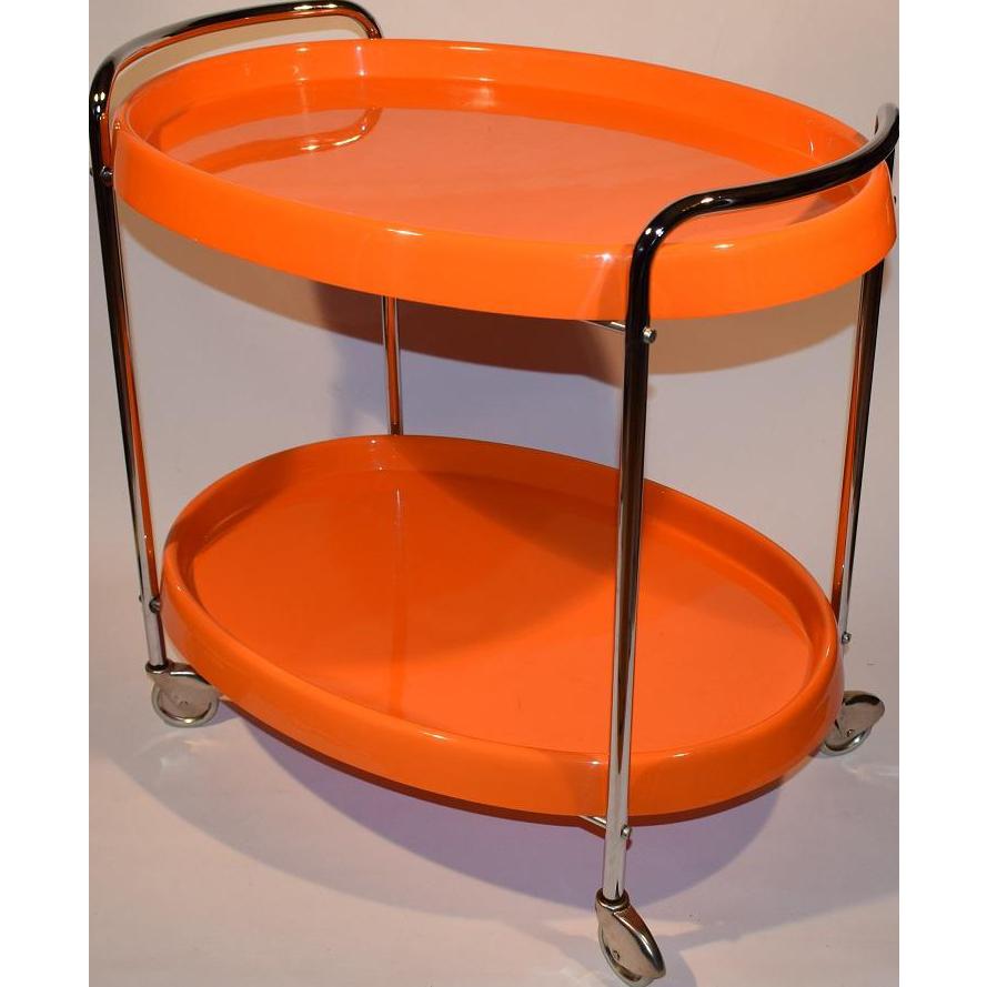 Mid Century Modern Retro Space Age Chrome Plastic Bar Cart. Service Trolley.