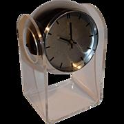 Mid Century Space Age Chrome Acrylic Eyeball Clock by Robert Sonneman.